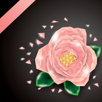 Low poly rose flower