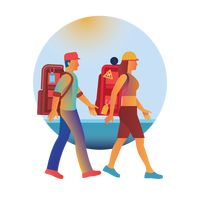 Man and woman travelling