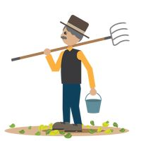 Man with pitchfork and bucket