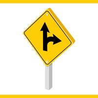 Mandatory straight or right turn ahead sign