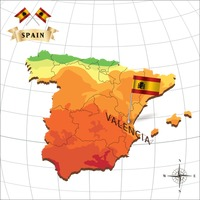 Map of spain with valencia