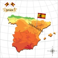 Map of spain with zaragoza