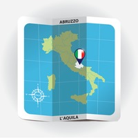 Map pointer indicating abruzzo on italy map