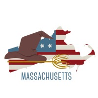 Massachusetts state map with witch hat and broom