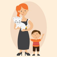 Mother and son with pet cat
