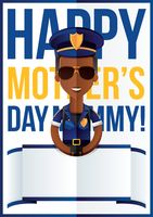 Mothers day design with policewoman