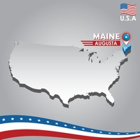 Navigation pointer indicating maine on usa map