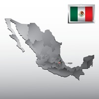 Navigation pointer indicating tlaxcala on mexico map