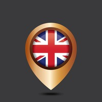 Navigation pointer with united kingdom flag