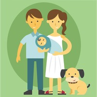 Parent holding a baby and pet dog