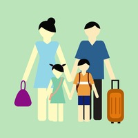 Parent with children going for vacation
