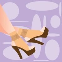 Person wearing high heels on violet background