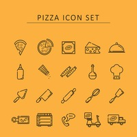 Pizza icon set
