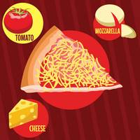 Pizza slice with ingredients