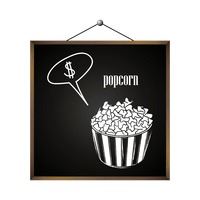 Popcorn with dollar sign in speech bubble