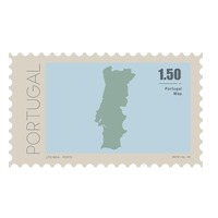 Portugal map postage stamp