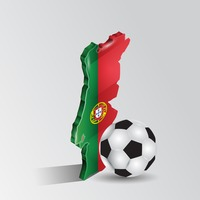 Portugal map with football