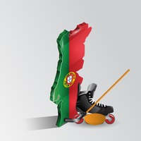 Portugal map with ice hockey sports equipment