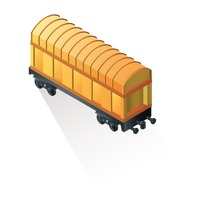 Railroad flatcar with container