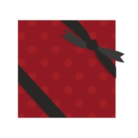 Red gift box with a black ribbon