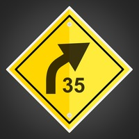 Right curve with advisory speed sign