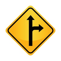 Right or straight arrow auxiliary sign