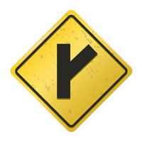 Right y intersection road sign
