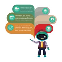 Robot with shopping infographic