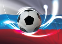 Russia flag with soccer ball