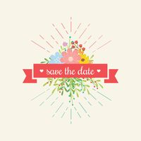 Save the date ribbon with flowers