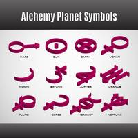 Set of alchemy planet symbols