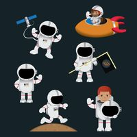 Set of astronauts in outer space