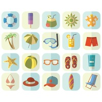 Set of beach items