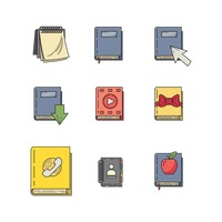 Set of book icons