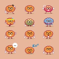 Set of brain character