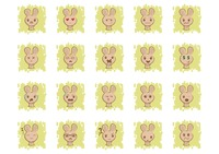 Set of bunny emoticon icons