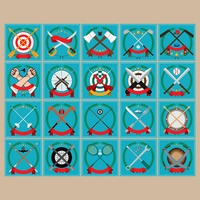 Set of crossed emblems icons
