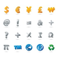 Set of currency and mathematical symbols