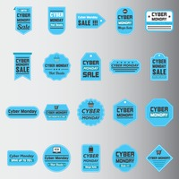 Set of cyber monday sale stickers and tags