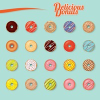 Set of delicious donuts