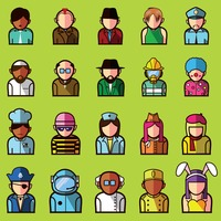 Set of different professional avatars