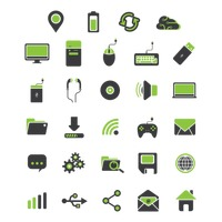 Set of electronic and web icons