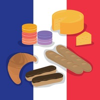 Set of france food items