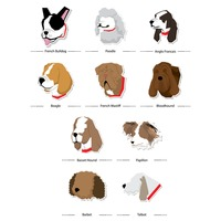Set of french dogs icons