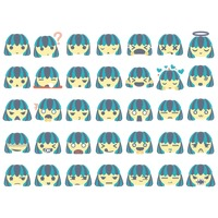 Set of girl emoticon icons