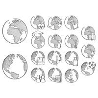 Set of globe with icons