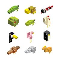 Set of isometric animals