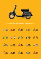 Set of italian scooter icons