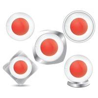 Set of japan flag icons