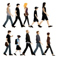 Set of people walking